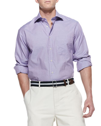 Micro-Check Sport Shirt, Purple