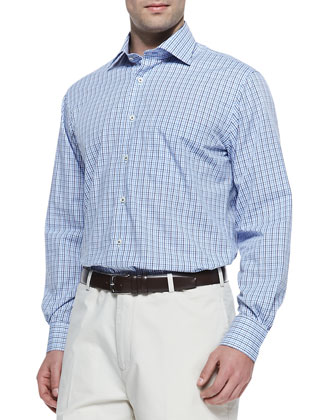 Multi-Check Button-Down Shirt, Purple