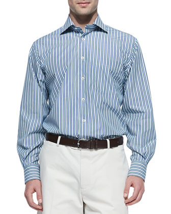 Awning-Stripe Button-Down Shirt, Multi