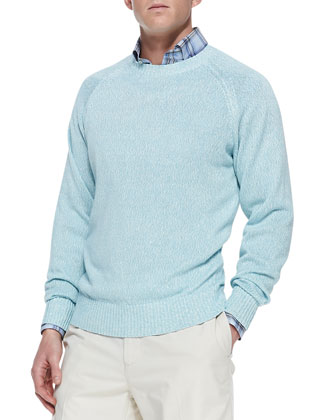 Linen-Cotton Crewneck Sweater, Blue