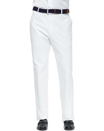 White-Washed Twill Pants, White