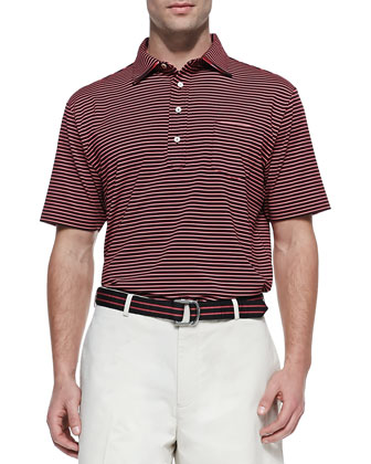 Performance E4 Striped Polo, Black