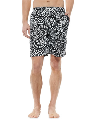 Swirl Dot-Print Swim Trunks