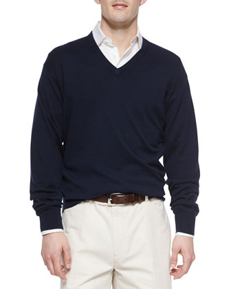 Long-Sleeve V-Neck Sweater, Navy