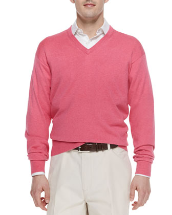 V-Neck Cotton-Blend Sweater, Pink