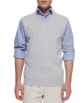 V-Neck Sweater Vest & Melange Houndstooth Sport Shirt