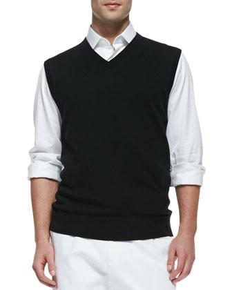 Jersey V-Neck Vest, Black