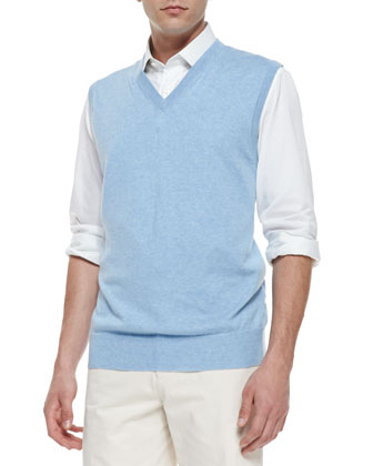 Knit V-Neck Vest, Blue