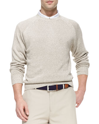 Fine-Knit Crewneck Sweater, Light Brown