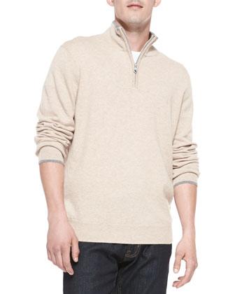 Cashmere 1/4-Zip Pullover Sweater, Beige