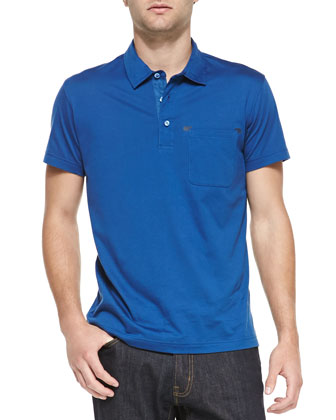 Leather-Detail Pocket Polo, Blue
