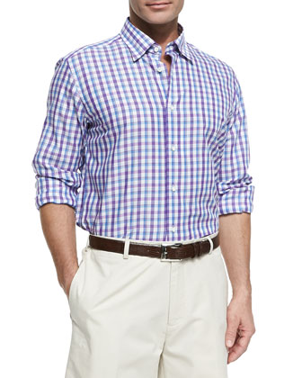 Plaid Poplin Button-Down Shirt, Blue