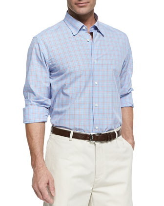 Plaid Windowpane Button-Down Shirt