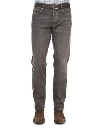 5-Pocket Denim Jeans, Tobacco