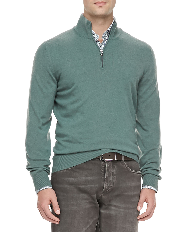 Mens Cashmere Half Zip Pullover Sweater, Sage   Brunello Cucinelli   Ct055 (54)