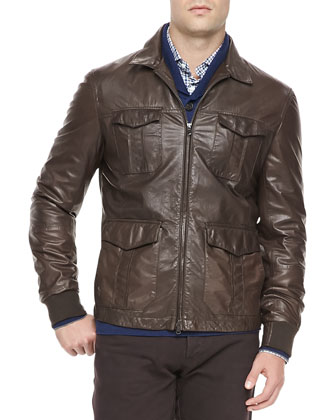 4-Pocket Leather Jacket, Brown