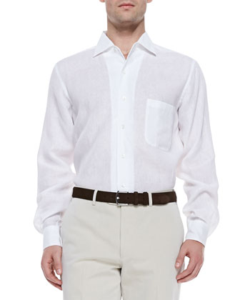 Linen Andre Melange Dress Shirt, Optical White