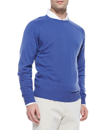 Cashmere Westport Crewneck Sweater, Denim
