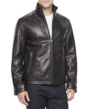 Leather Blouson Jacket, Black