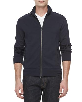 Jersey Zip-Front Track Jacket, Navy