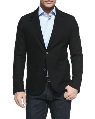 Cotton-Pique Two-Button Jacket & Solid Button-Down Shirt
