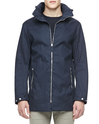 Tech Parka Jacket with Hood, Navy