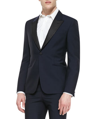 Faille-Lapel Tuxedo Jacket, Stretch-Poplin Harness Shirt & Contrast-Faille ...