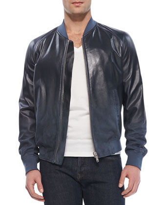 Degrade Leather Bomber Jacket