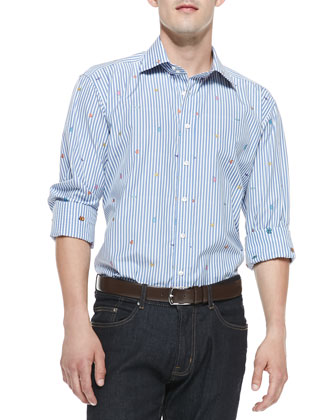 Fish-Embroidered Stripe Shirt, Blue/White