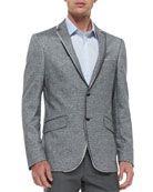 Melange Linen/Cotton Jersey Jacket, Gray/Black