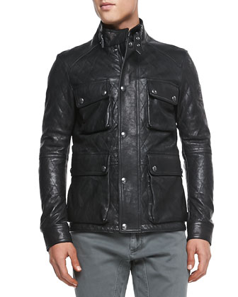 Langford Quilted Leather Jacket, Black