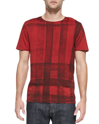 Check-Front Short-Sleeve T-Shirt, Red