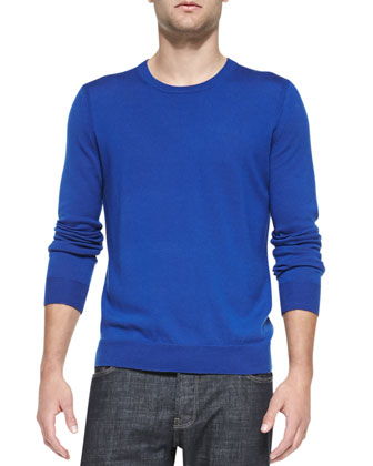 Extrafine Merino Wool Sweater & Steadman Resin-Coated Slim-Fit Jeans