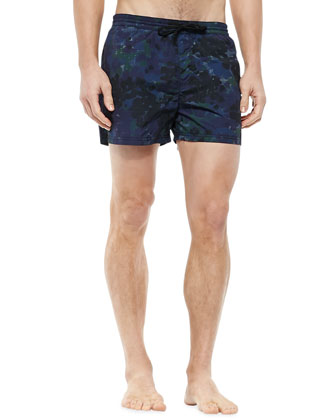 Camouflage-Print Short Swim Trunks