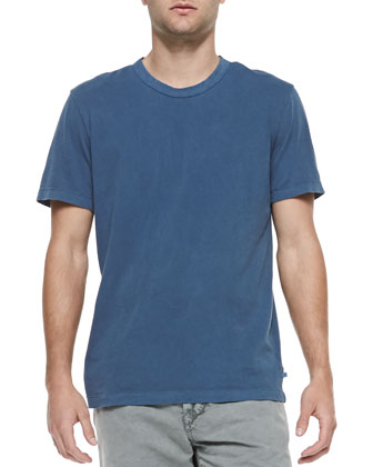 Cotton Crewneck Tee, Deep Blue