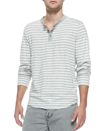 Striped Long-Sleeve Henley, Gray