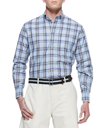 Amalfi Plaid Sport Shirt, Blue