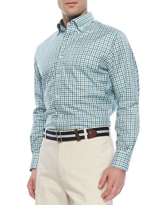 Box-Check Twill Sport Shirt, Blue