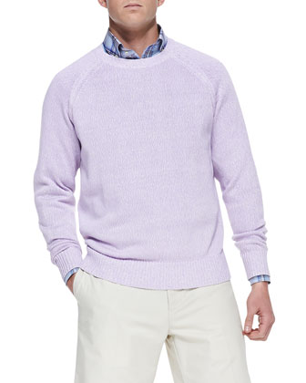 Linen/Cotton Crewneck Sweater, Pink