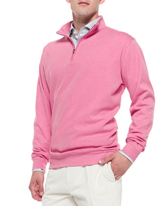Interlock 1/4-Zip Pullover Sweater, Pink