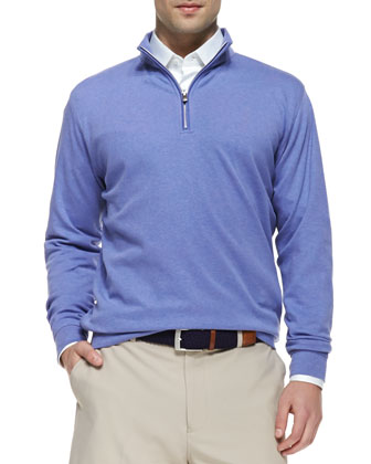 Interlock 1/4-Zip Pullover Sweater, Fog