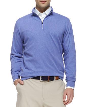 Interlock 1/4-Zip Pullover Sweater, Fog