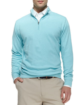 Jersey Interlock Quarter-Zip Sweater, Blue Heather