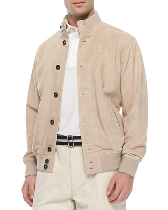 Suede Button-Front Jacket, Tan