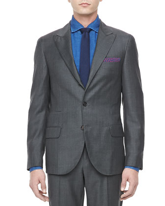 Sharkskin Peak-Lapel Suit, Gray