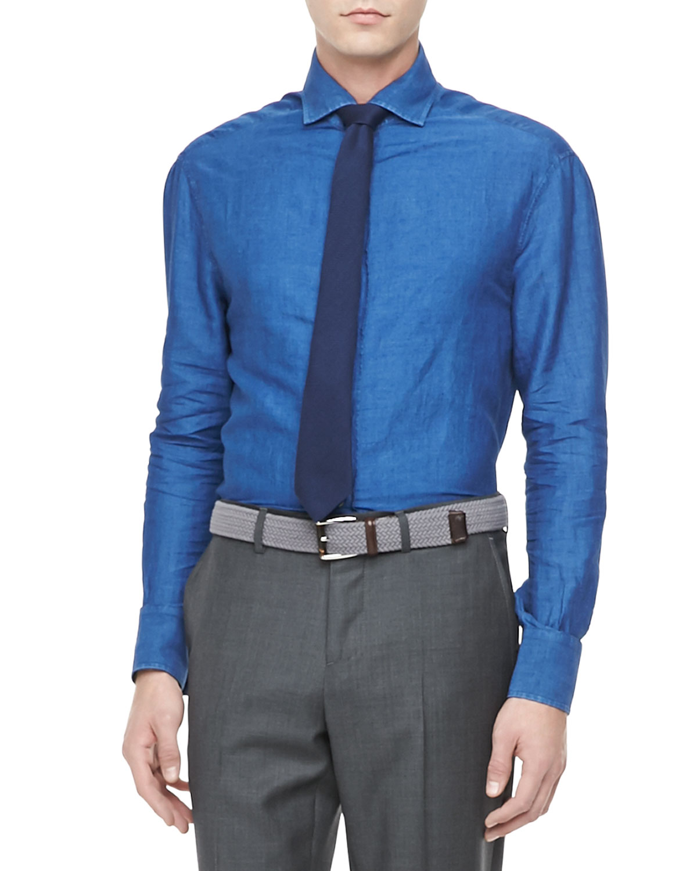 Mens Delavae Woven Long Sleeve Shirt   Brunello Cucinelli   C017 (LARGE)