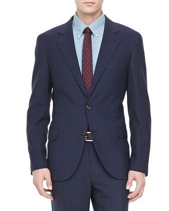 Tonal Plaid Suit, Navy