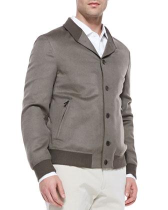 Double-Cashmere Bomber Jacket, Lichen