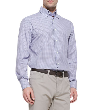 Mini Check Shirt, Purple/Gray
