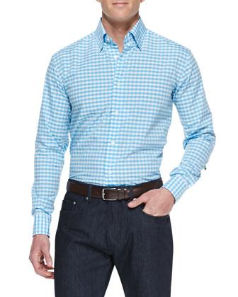 Check Cotton Shirt, Blue/White Pattern